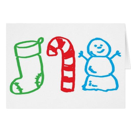 Tarjeta de Navidad - dibujo de los niños