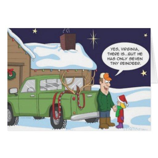 Tarjeta de Navidad divertida de la caza del reno d