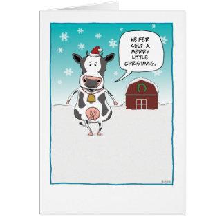 Tarjeta de Navidad divertida de la vaca: Uno mismo