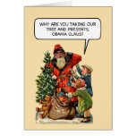 Tarjeta de Navidad divertida de Obama Claus