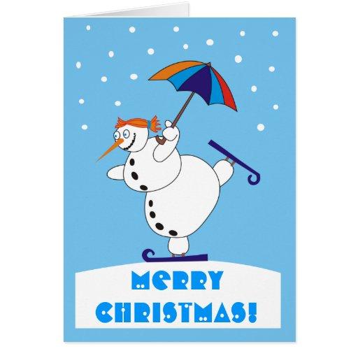 Tarjeta de Navidad divertida de Snowgirl