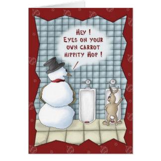 Tarjeta de Navidad divertida del conejito de pascu