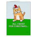 Tarjeta de Navidad divertida del gato