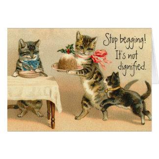 Tarjeta de Navidad divertida del gato del vintage