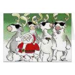 Tarjeta de Navidad divertida del reno del servicio