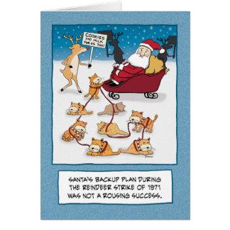 Tarjeta de Navidad divertida: Gatos del trineo