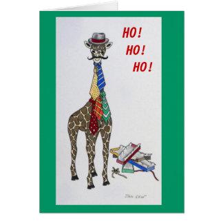 Tarjeta de Navidad divertida - jirafa con las corb