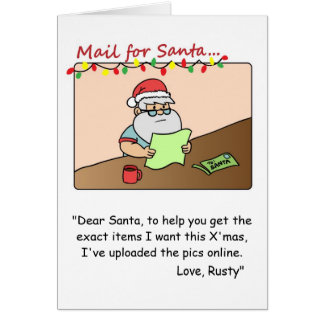 Tarjeta de Navidad divertida: Santa lee el correo