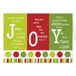 Tarjeta de Navidad doblada ALEGRÍA del verso de la