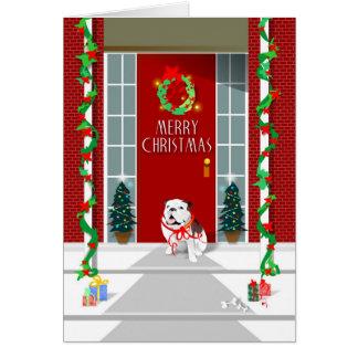 Tarjeta de Navidad - dogo en navidad del pórtico