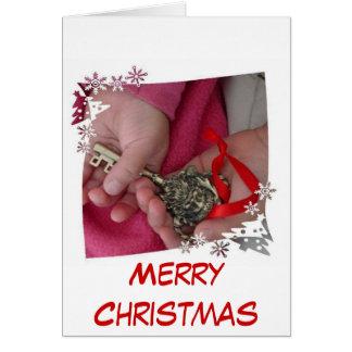 Tarjeta de Navidad dominante de Santa de los niños