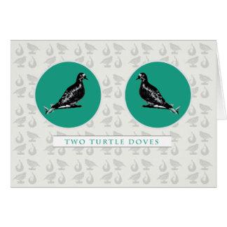Tarjeta de Navidad dos de la tortuga de las paloma