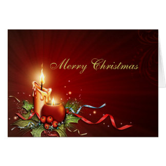 Tarjeta de Navidad elegante de la luz de una vela