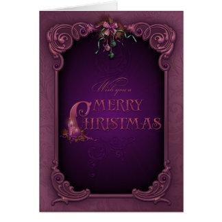Tarjeta de Navidad elegante de la púrpura y de la