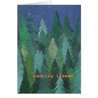 Tarjeta de Navidad elegante del bosque Nevado: