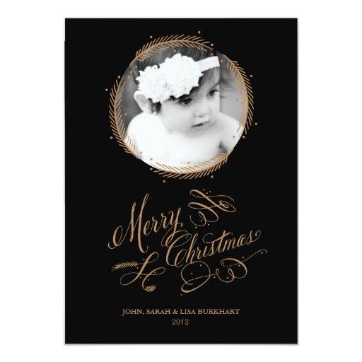 Tarjeta de Navidad emplumada de la guirnalda del Anuncios