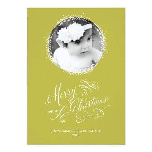 Tarjeta de Navidad emplumada de la guirnalda del Invitación 12,7 X 17,8 Cm
