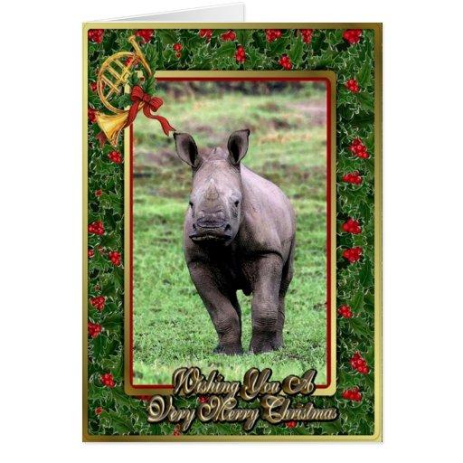 Tarjeta de Navidad en blanco animal africana del r