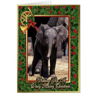 Tarjeta de Navidad en blanco del elefante