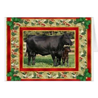 Tarjeta de Navidad en blanco en blanco de la vaca