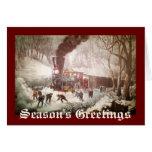 Tarjeta de Navidad encuadernada del tren de la nie