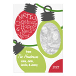 Tarjeta de Navidad enredada de la foto de las luce Comunicado Personalizado