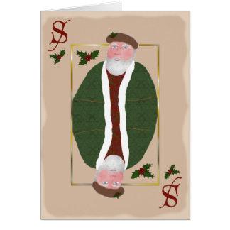 Tarjeta de Navidad envejecida del naipe de Papá