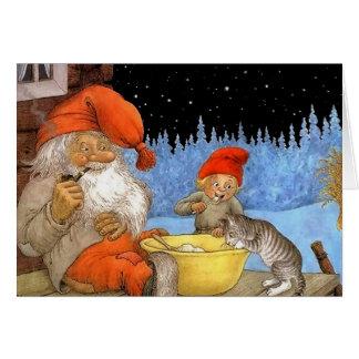 Tarjeta de Navidad escandinava del duende de