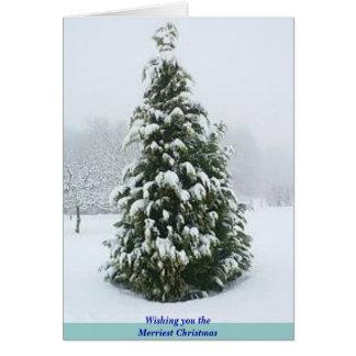 Tarjeta de Navidad escarchada del árbol
