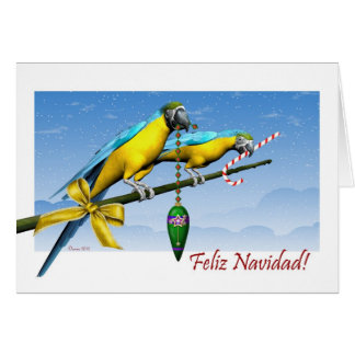Tarjeta de Navidad española del loro del Macaw de