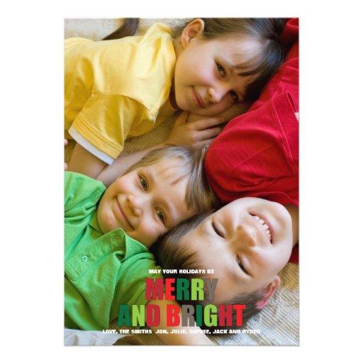 Tarjeta de Navidad feliz y brillante de la foto Invitaciones Personalizada