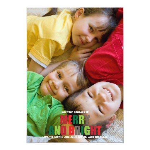 """Tarjeta de Navidad feliz y brillante de la foto Invitación 5"""" X 7"""""""