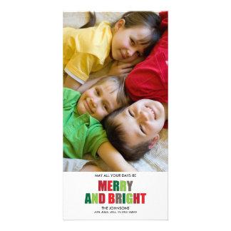 Tarjeta de Navidad feliz y brillante de la foto Tarjetas Fotograficas
