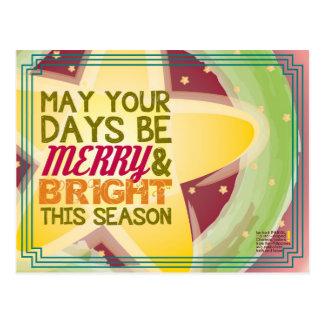 tarjeta de Navidad feliz y brillante Tarjeta Postal