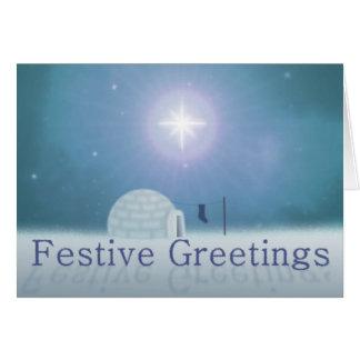 Tarjeta de Navidad festiva de los saludos