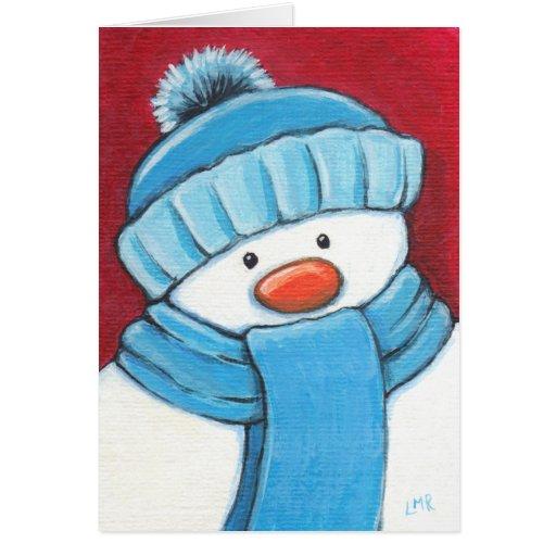 Tarjeta de Navidad festiva del muñeco de nieve