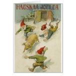 Tarjeta de Navidad finlandesa del duende y del cer
