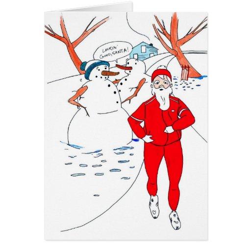 Tarjeta de Navidad flaca de Santa para el corredor