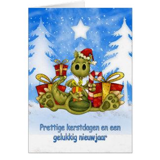 Tarjeta de Navidad flamenca - dragón lindo - Prett