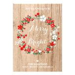 Tarjeta de Navidad floral de la guirnalda del día