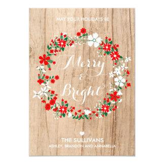 Tarjeta de Navidad floral de la guirnalda del día Invitación 12,7 X 17,8 Cm