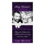 tarjeta de Navidad floral púrpura de la FOTO de Ri Tarjetas Fotograficas