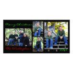 Tarjeta de Navidad - fondo negro Tarjeta Fotografica Personalizada