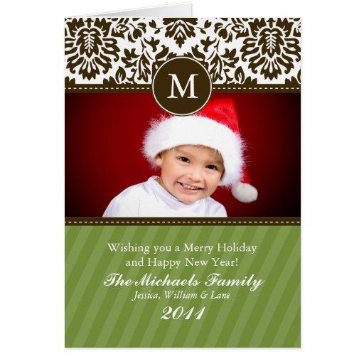 Tarjeta de Navidad formal del monograma