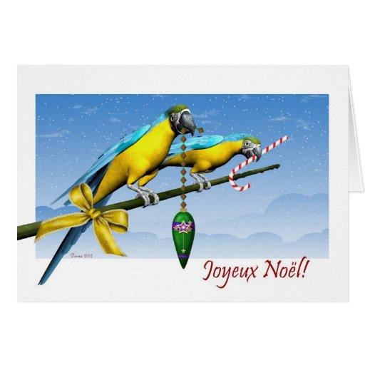 Tarjeta de Navidad francesa de los pájaros del