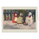 """Tarjeta de Navidad francesa del vintage de """"Joyeux"""
