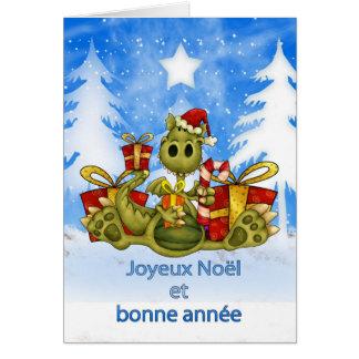 Tarjeta de Navidad francesa - dragón lindo - Joyeu