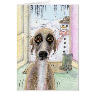 Tarjeta de Navidad fría de Whippet