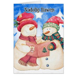 Tarjeta de Navidad Galés - dragón lindo - Nadolig