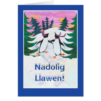Tarjeta de Navidad Galés - pingüinos patinadores